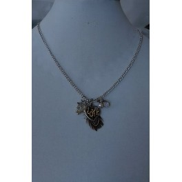Antique Silver Multi Love Sparrow  Necklace