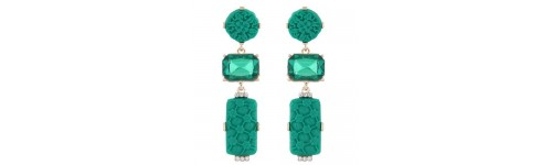 Gold Tone Green Flower Statement earrings