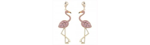 Bird Inspiration Pink Stone Fashion Earrings